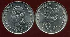 POLYNESIE francaise 10 francs 1975  ( bis )