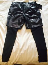 BNWT New ZARA mens Black Real Leather Shorts Legging Combo Pants Sz 31/ 40 M