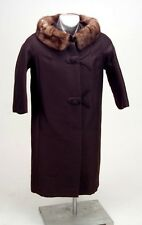 Wool Coat Vintage Ladies Brown wBrown Fur Collar 1940s Original Owners Excellent