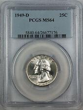 1949-D Silver Washington Quarter Coin, PCGS MS-64, Neat Die Break, Better Coin