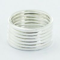 Silver ring stackable 925 stack of 7 rings in each set size 5us 6us 7us 8us 9us