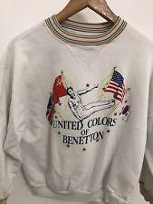 United Colors Of Benetton White Vintage Sweatshirt Olympics World Trophy Hurdle