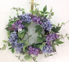"Lilac Flower Twig Wreath~Seed Berries~Artificial. Purple. 18"""