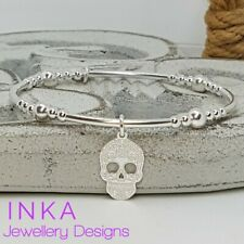 Inka Sterling Silver Noodle and bead Stacking Bracelet with Sugar Skull charm