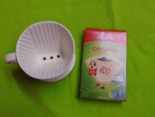 Porzellan Kaffeefilter, Tassenfilter NEU !!!  Größe 100, Weiß mit Melitta Filter