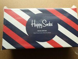 Happy Socks 3-Pack Gift Box Socks - Red/White/Blue EUR 36 - 40 UK 4 - 7. In box.