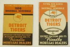 1939 & 1941 Detroit Tigers Baseball Pocket Schedules Mobil Oil RED FLYING HORSE