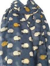 Sheep Scarf Blue Mustard Yellow Wrap Ladies White Lamb Lambs Shawl Cute Animal