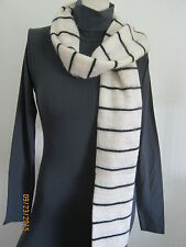 american apparel acrylic mohair cream black thin stripes scarf