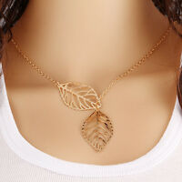 Fashion Women Gold Hollow Leaves Pendant Choker Chunky Statement Necklace Chain