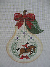 Handpainted Needlepoint Canvas Painted Pony 12 Days Christmas Pear Lords Leaping