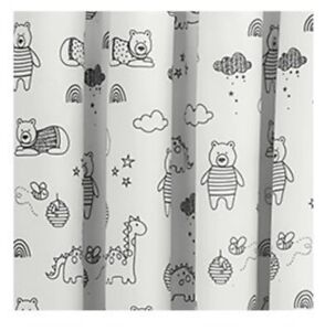Monochrome Pencil Pleat Blackout Nursery Black & White Animal Curtains Baby