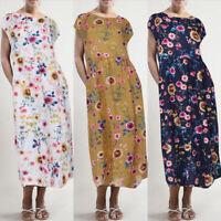 UK Womens Short Sleeve Floral Sundress Ladies Summer Casual Maxi Dresses Kaftan