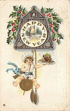 HAPPY NEW YEAR 1915 Embossed Postcard Child Sweets Clock