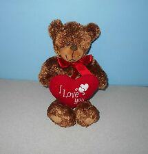 "Petting Zoo 14"" Brown Love Teddy Bear Stuffed Bean Plush Holding Red Love Heart"