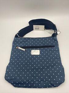 SHRUTI Canvas Bag, Crossbody, Dots, Blue, Adjustable, BRAND NEW