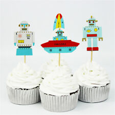 24pcs aviation robot rocket cake toppers favors cupcake toppers party decor HV