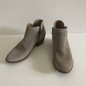 Lucky Brand Women's Bayley Perforated Taupe Suede Ankle Bootie Size 6