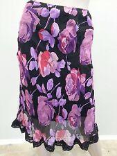 Vintage 27.4ms Betsey Johnson NY Violet Rose Florale bordure en dentelle Grunge