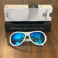 Babiators ACES Wicked White Blue Mirrored Kids Unisex Sunglasses | Age 7-14
