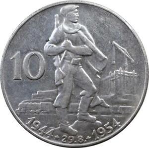 CZECHOSLOVAKIA - 10 KORUN - 1954 -SILVER - SLOVAK UPRISING