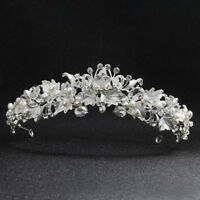 Deartiara Crystal Pearl White Flower Tiara Wedding Bridal Head Bands Headpiece