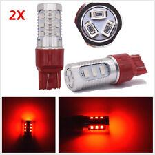 2Pcs T20 7443 W21/5W Red LED Car Strobe Rear Alert Safety Tail Brake Stop Light