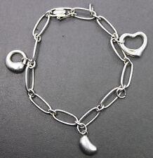 Tiffany & Co Silver 925 Peretti Heart Bean Teardrop 3 Charm Bracelet