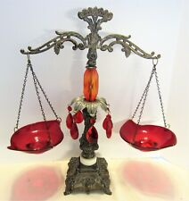 Vintage Ornate Ruby Red Glass & Anitque Brass Scales of Justice with Prisms