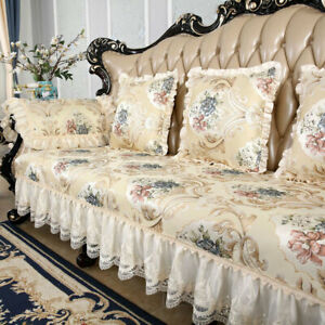 Jacquard Floral Lace Sofa Cover 3 Seater Couch Protector Recliner Slipcover Gold