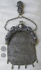 Antique Art Nouveau Silver Woman Fish Chatelaine Chain Mail Kilt Purse 1901 NICE