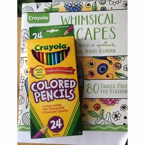 Crayola Whimsical Escapes Coloring Book and Crayola Colored Pencils Set of 24