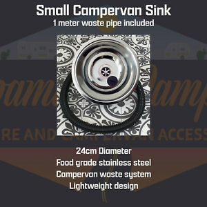 Stainless Steel Sink for Campervan Self Build Conversion with Waste pipe