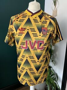 "Arsenal Adidas Away Shirt 1991-93 Bruised Banana ORIGINAL 38-40"" JVC Yellow"