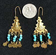 EGYPTIAN CHANDELIER EARRINGS Gold Colored with Turquoise & Black Pearls