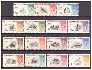 Falkland Islands QEII 1960 Pictorial Definitive Birds set used SG193-207