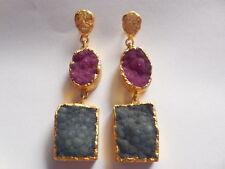 Druzy Gold Edge Earring, Druzy Agate Earring, Druzy Chandelier Earring,Jewelry