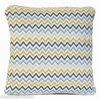 Zig Zag Stripes Cushion Cover Yellow Beige Grey Pillow Case Modern Contemporary