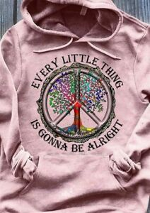 Hippie Every Little Thing Is Gonna Be Alright Hoodie Light Pink M - 4XL