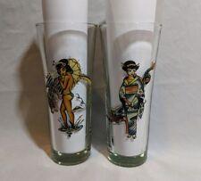 "Ed Hardy 7"" Naked Geisha Dragon Bamboo Back Don Ed Hardy Tall Bar Glasses Rare"