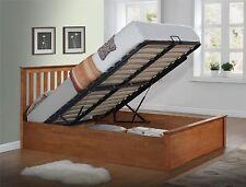 New Phoenix 4`0 Small Double Solid Rubberwood Oak Ottoman Storage Bed Frame