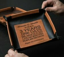 Custom leather tray for 3 year anniversary, Leather valet tray, 3rd anniversary