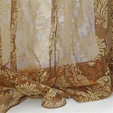1 Piece Floral Lace Window Curtain Blackout Sheer Flocking Grommet Panel Drape