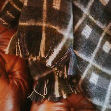 The Weaving Shed UK Wool Blanket, Mohair Windowpane Blue & Green Throw - Lovely