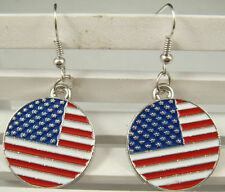 New Silver Plated USA US American Flag Round Circle Charm Dangle Hook Earrings