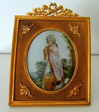 New ListingAntique Victorian Lady Miniature Painting Ormolu Gilt Bronze French Frame