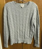 ST JOHN'S BAY Grey Women's Size L Cable-Knit Sweater
