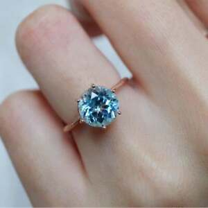 9 MM Round Natural Aquamarine Solitaire Engagement Ring 14kt Rose Gold