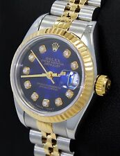 Rolex Datejust 69173 Jubilee 18K Yellow Gold &SS Blue Viniet Diamond Dial Ladies