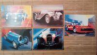 5 carte postale Voiture Art et automobiles Bugatti Jaguar Ferrari